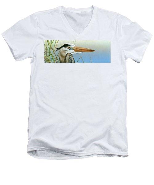 Blue Heron  Men's V-Neck T-Shirt by Mike Brown