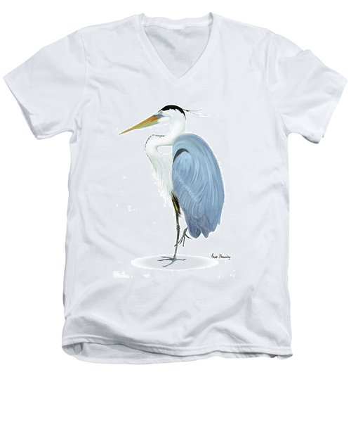 Men's V-Neck T-Shirt featuring the painting Blue Heron With No Background by Anne Beverley-Stamps
