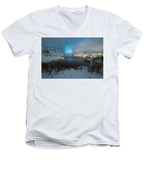Blue Hour Over Reine Men's V-Neck T-Shirt