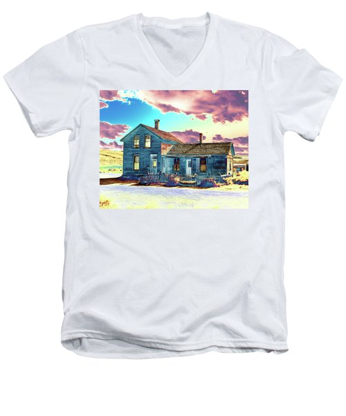 Men's V-Neck T-Shirt featuring the photograph Blue House by Jim and Emily Bush