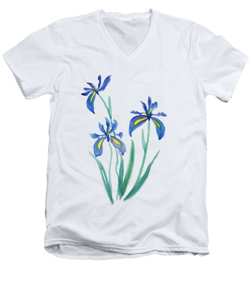 Blue Iris Men's V-Neck T-Shirt by Color Color