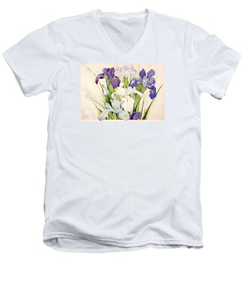 Blue Irises-posthumously Presented Paintings Of Sachi Spohn  Men's V-Neck T-Shirt