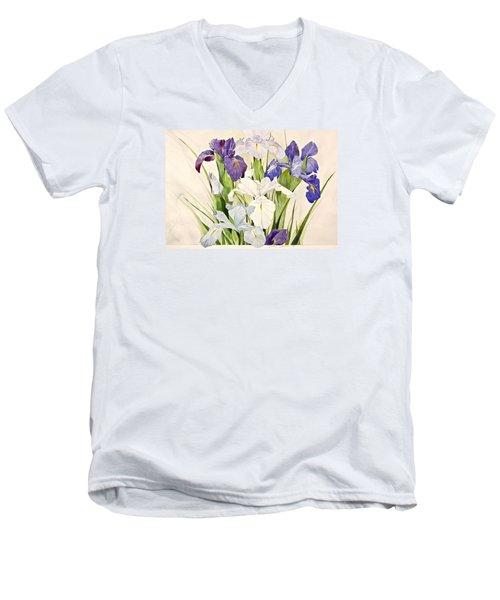 Blue Irises-posthumously Presented Paintings Of Sachi Spohn  Men's V-Neck T-Shirt