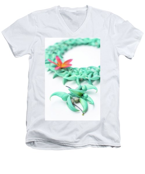 Blue Jade Lei Men's V-Neck T-Shirt