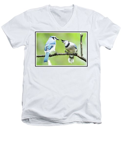 Blue Jay Parent Feeding Juvenile Men's V-Neck T-Shirt by A Gurmankin