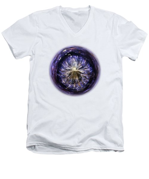 Blue Jelly Fish Orb On Transparent Background Men's V-Neck T-Shirt by Terri Waters