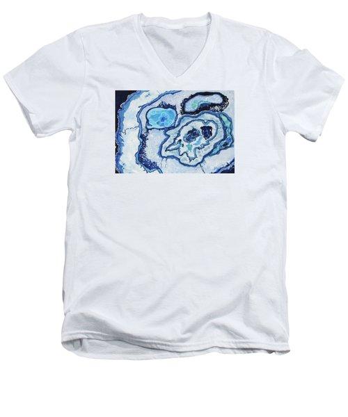 Men's V-Neck T-Shirt featuring the painting Blue Lace Agate I by Ellen Levinson