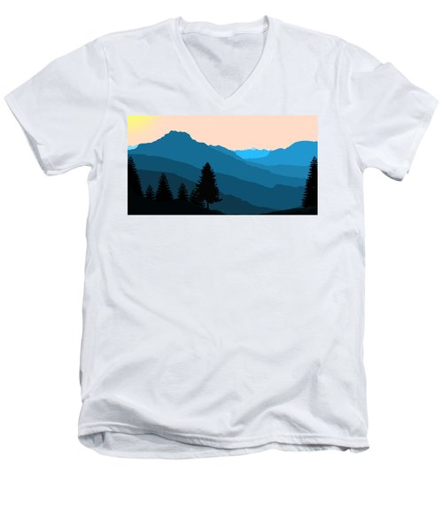 Blue Landscape Men's V-Neck T-Shirt by Thomas M Pikolin