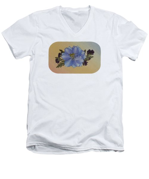 Blue Larkspur And Oregano Pressed Flower Arrangement Men's V-Neck T-Shirt