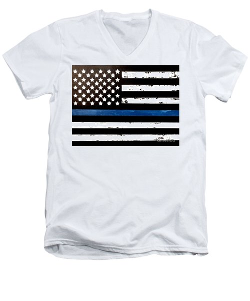 Men's V-Neck T-Shirt featuring the painting Blue Line Flag by Denise Tomasura