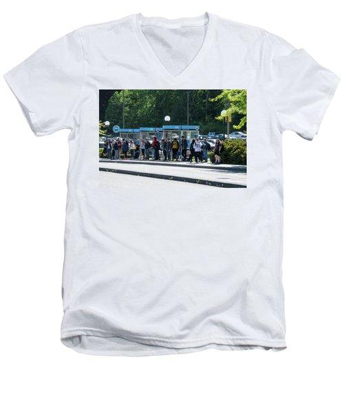 Blue Line On Campus Men's V-Neck T-Shirt
