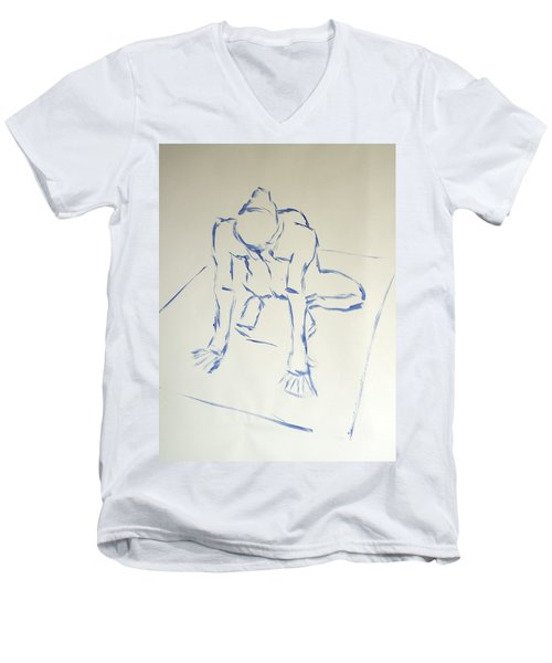 Blue Line Painting Of A Male Nude Kneeling On His Heels And Resting On Hands Which Are Behind Him Men's V-Neck T-Shirt