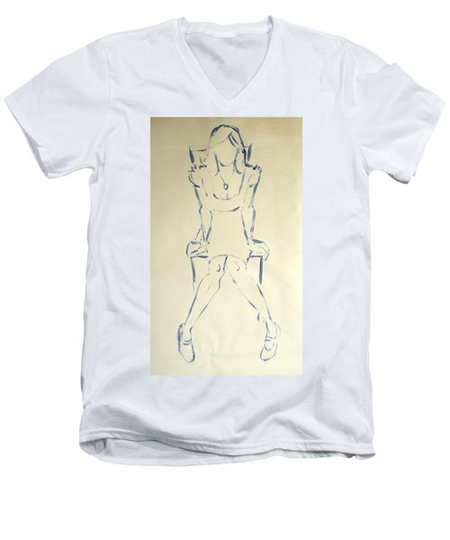 Blue Line Painting Of Woman Sat On Chair With Hands On The Sides Of Her Legs Men's V-Neck T-Shirt