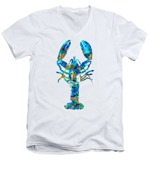Men's V-Neck T-Shirt featuring the painting Blue Lobster Art By Sharon Cummings by Sharon Cummings