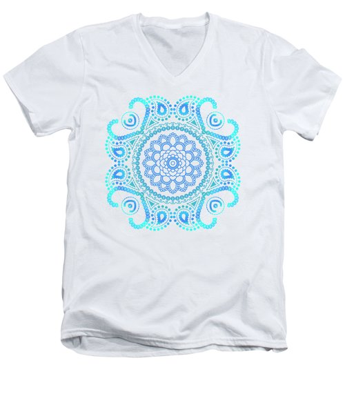 Blue Lotus Mandala Men's V-Neck T-Shirt by Tammy Wetzel