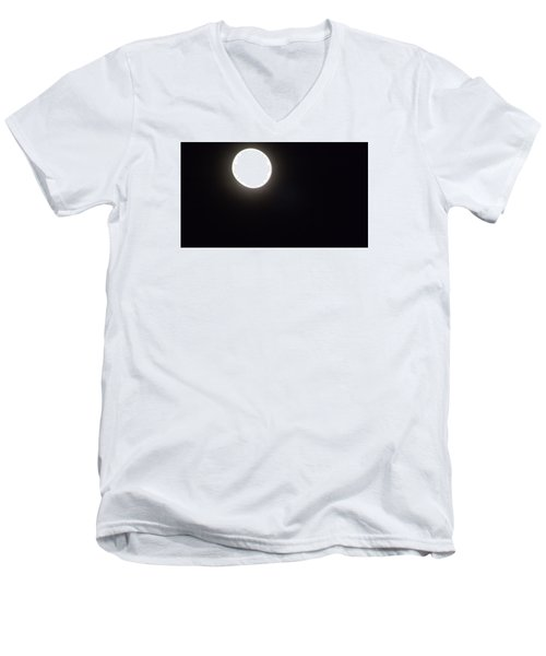 Men's V-Neck T-Shirt featuring the photograph Blue Moon In July by Don Koester