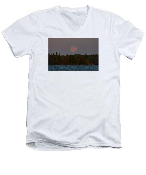 Blue Moon Over Berry Lake Men's V-Neck T-Shirt by Steven Clipperton
