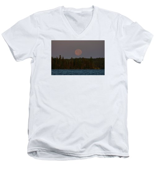 Blue Moon Over Berry Lake Men's V-Neck T-Shirt
