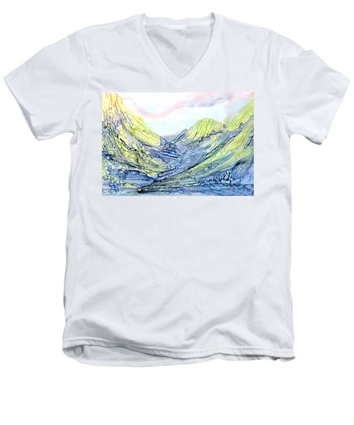 Blue Mountains Alcohol Inks  Men's V-Neck T-Shirt
