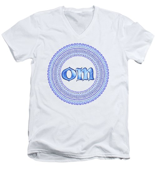 Blue Om Mandala Men's V-Neck T-Shirt by Tammy Wetzel
