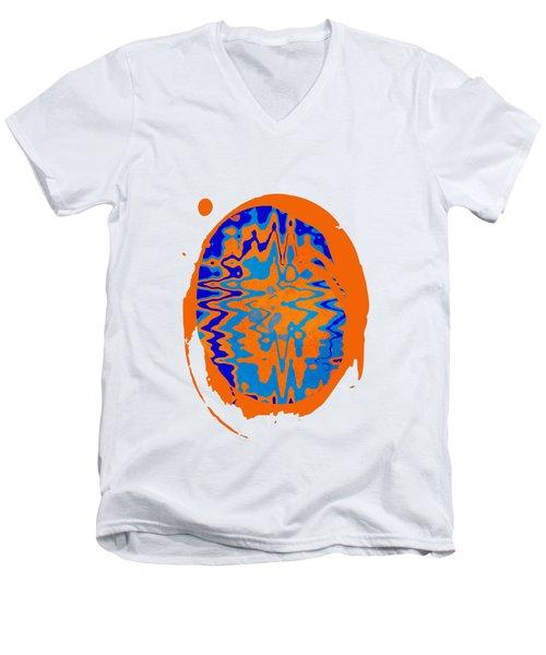 Blue Orange Abstract Art Men's V-Neck T-Shirt