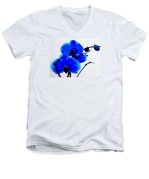Blue Orchid  Men's V-Neck T-Shirt by Anthony Fishburne