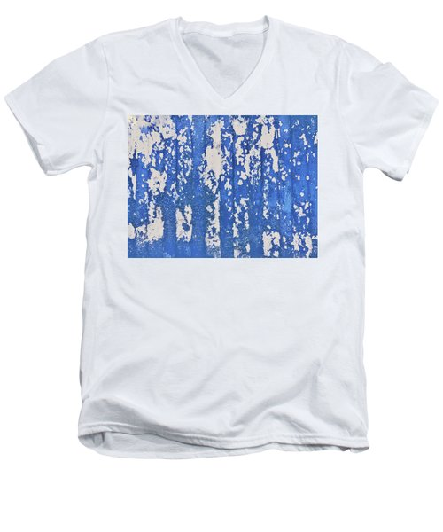 Blue Painted Metal Men's V-Neck T-Shirt