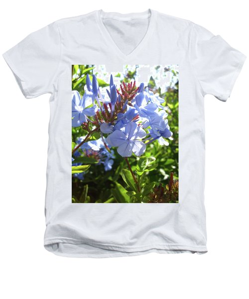 Men's V-Neck T-Shirt featuring the photograph Blue Plumbago by Mary Ellen Frazee