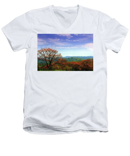 Men's V-Neck T-Shirt featuring the photograph Blue Ridge Blessing by Jessica Brawley