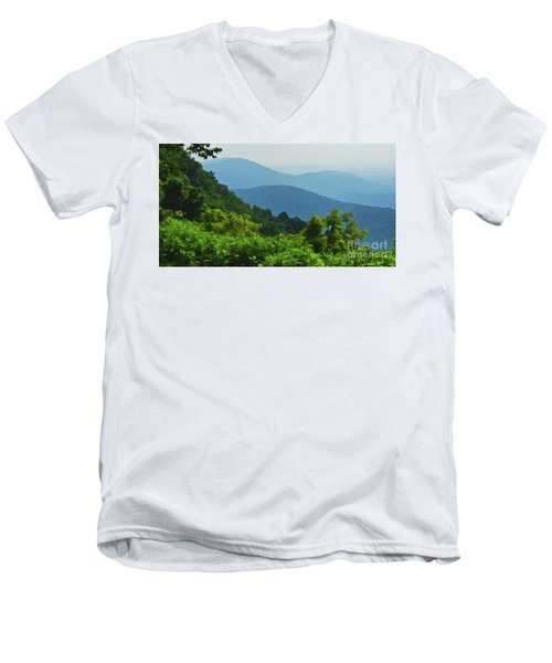 Blue Ridge Mountain Layers Men's V-Neck T-Shirt by Kerri Farley