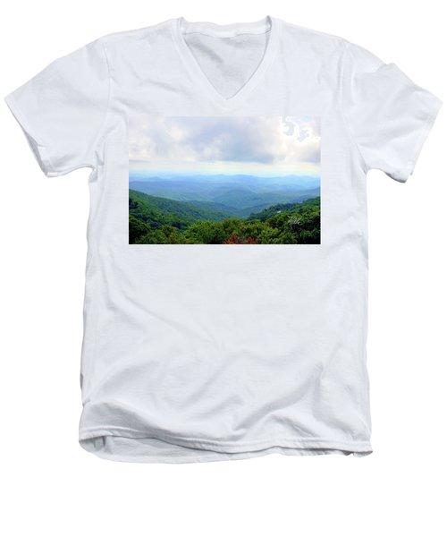 Men's V-Neck T-Shirt featuring the photograph Blue Ridge Parkway Overlook by Meta Gatschenberger