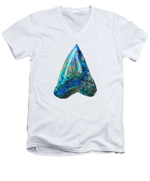 Blue Shark Tooth Art By Sharon Cummings Men's V-Neck T-Shirt