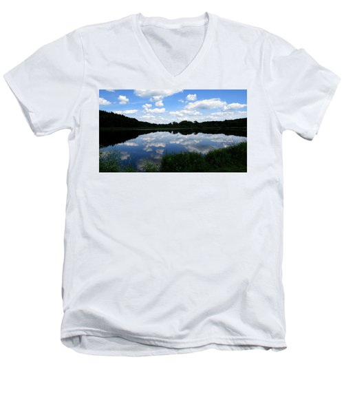 Men's V-Neck T-Shirt featuring the photograph Blue Skies At Cadiz Springs by Kimberly Mackowski