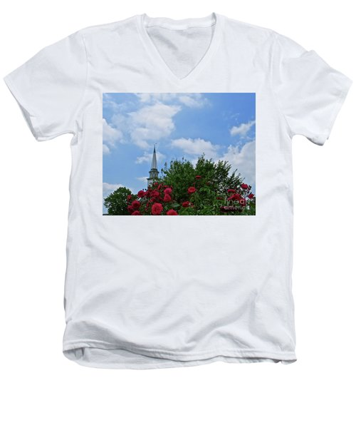 Blue Sky And Roses Men's V-Neck T-Shirt by Nancy Patterson