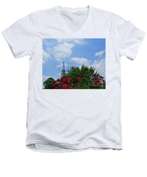 Blue Sky And Roses Men's V-Neck T-Shirt