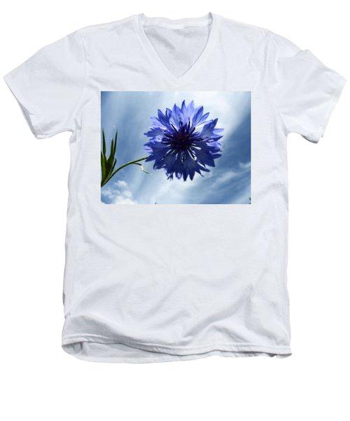 Blue Sky Blue Flower Men's V-Neck T-Shirt by Tina M Wenger