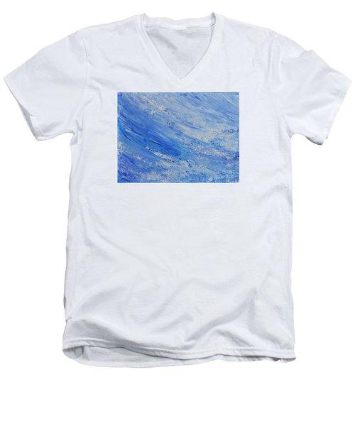 Blue Men's V-Neck T-Shirt by Teresa Wegrzyn