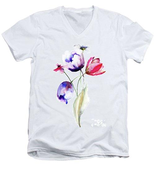 Blue Tulips Flowers With Wild Flowers Men's V-Neck T-Shirt