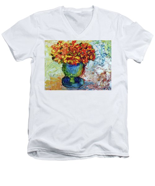 Blue Vase Men's V-Neck T-Shirt by Lynda Cookson
