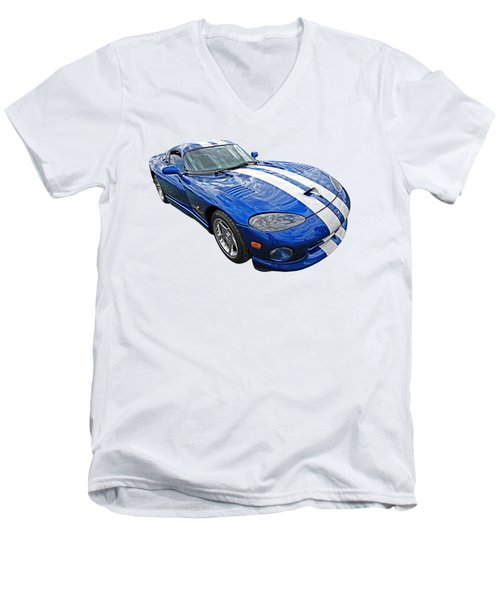 Blue Viper Men's V-Neck T-Shirt by Gill Billington