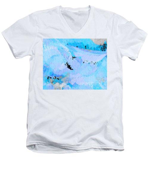 Blue Water Wet Sand Men's V-Neck T-Shirt by Stephanie Grant