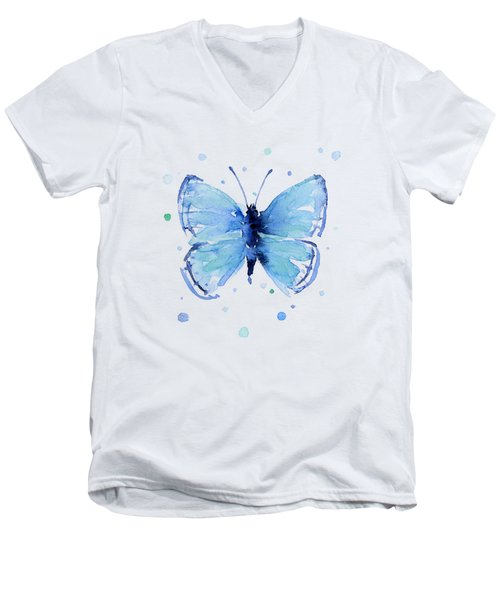 Blue Watercolor Butterfly Men's V-Neck T-Shirt