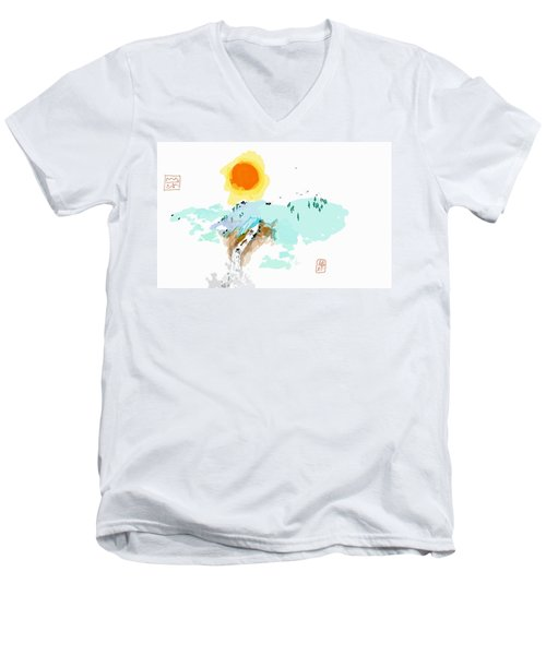 Blue Waterfalll Men's V-Neck T-Shirt