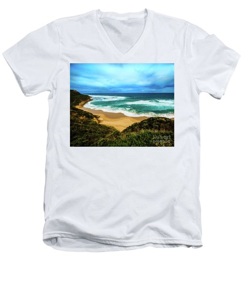 Men's V-Neck T-Shirt featuring the photograph Blue Wave Beach by Perry Webster