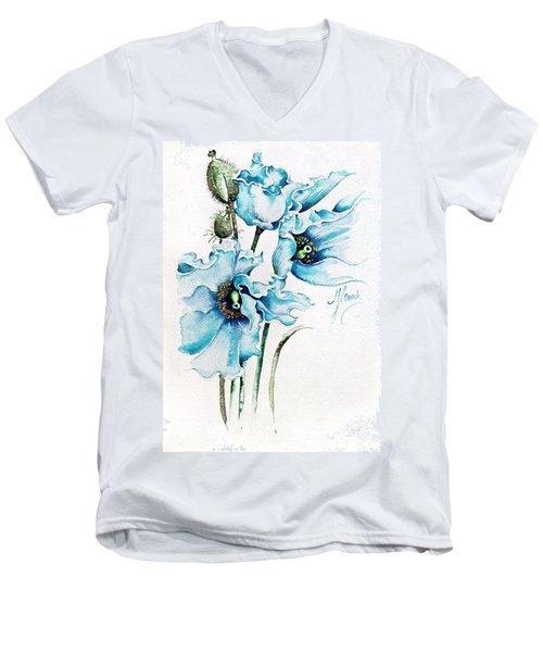 Blue Wind Men's V-Neck T-Shirt by Anna Ewa Miarczynska