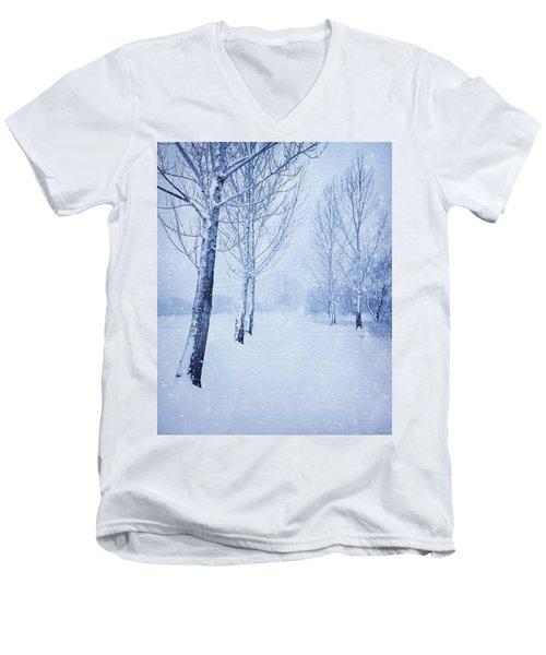 Blue Winter Path Men's V-Neck T-Shirt by Theresa Tahara