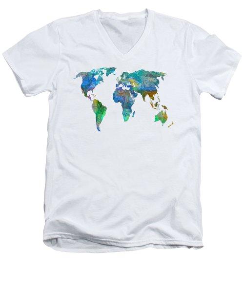 Blue World Transparent Map Men's V-Neck T-Shirt