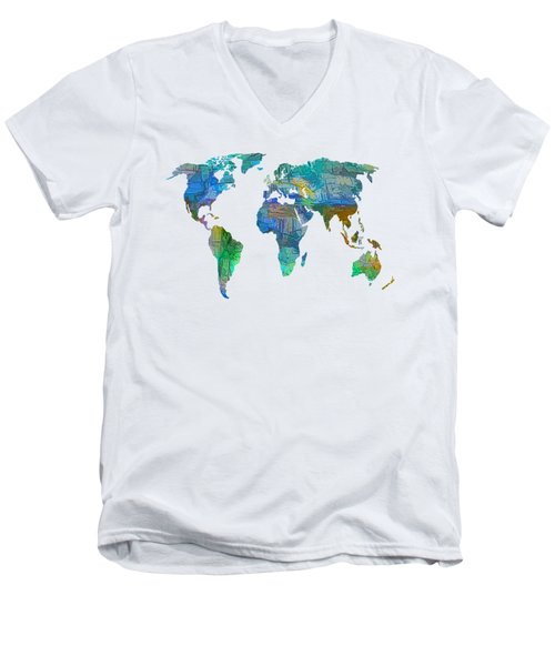Blue World Transparent Map Men's V-Neck T-Shirt