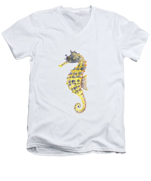 Blue Yellow Seahorse - Square Men's V-Neck T-Shirt by Amy Kirkpatrick