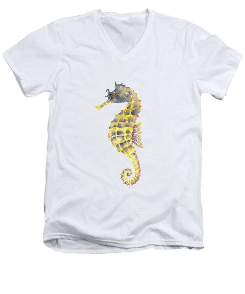 Blue Yellow Seahorse - Vertical Men's V-Neck T-Shirt